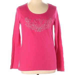 CHARLOTTE RUSSE PINK AND SILVER BEADED LOVE XL